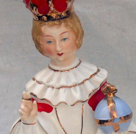 Infant Of Prague Vintage Flower Vase Toothbrush Holder Red & White Trimmed In 1960s Gold Mid Century