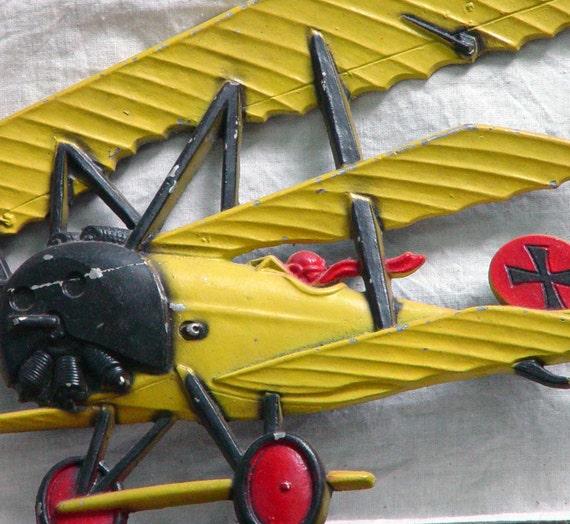 WW1 Biplane Faulkner Triplane Aluminum Vintage Wall Plaque Aviation circa 1975 Yellow Red Black
