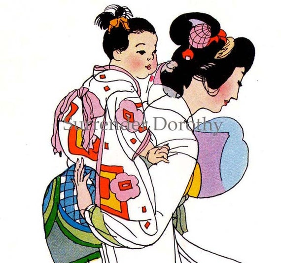 Summer Heat Japan Vintage Lithograph Verse 1940s Fashions Mother & Child