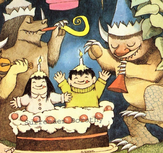 Wild Thing Birthday Party  Maurice Sendak Nursery Poster To Frame