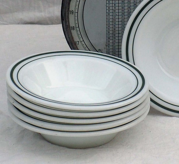 Pyrex Milk Glass Green Band Cereal Dessert Bowls Set Of Six Sixties Restaurant Kitchen USA 1960s