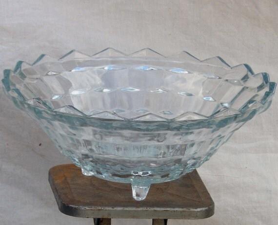 Jeannette Glass Cubist Footed Vegetable Bowl Depression Era Home Decor Super Fancy Holiday Serving 1930s USA