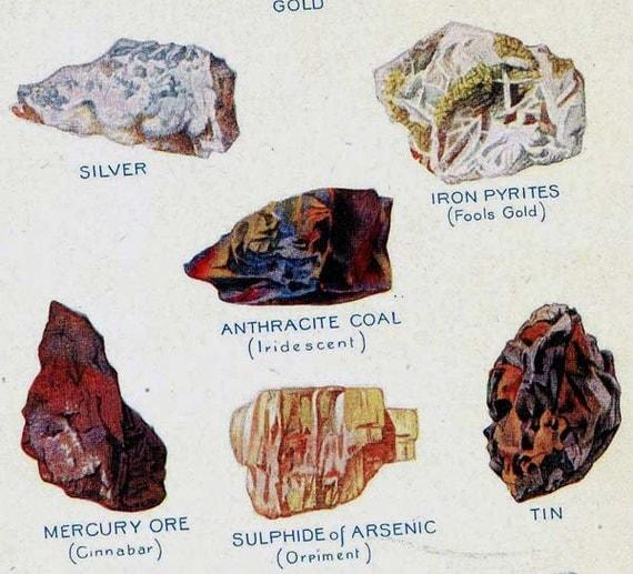 Metal Ores Valuable Minerals Chart Edwardian Era 1912 Geology