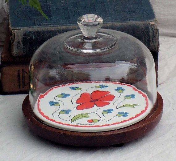 Cheese Dish  Glass Cloche Cover Red Poppy Flowers Goodwood 1970s Vintage Kitchen Serving Party-ware