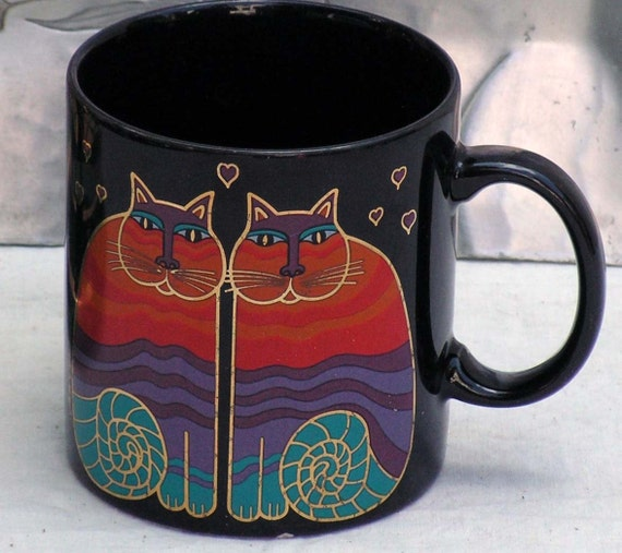 Rainbow Cats Laurel Burch Mug 1980s Retro Coffee Cup Vintage Kitsch Kitchen Ware