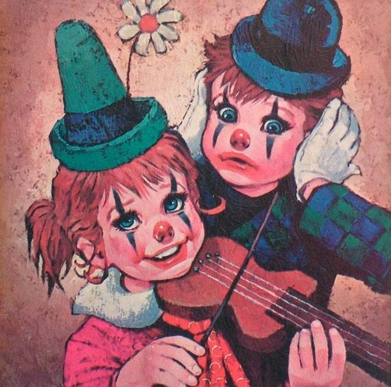 Clown Kids Framed  Print Sister & Brother Vintage Sixties Nursery Kitsch 1960s