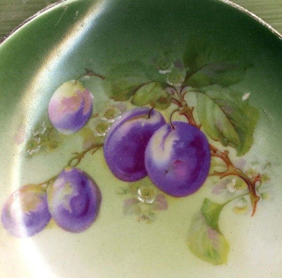 Plums Hand Painted Desert Plate Eagle China Austria Edwardian Porcelain