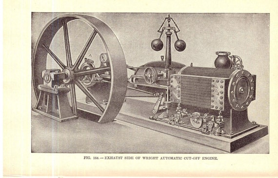 Engineer Machinist Automatic Cutoff Engine 1906 Vintage Steampunk Clip Art Pack For Artists
