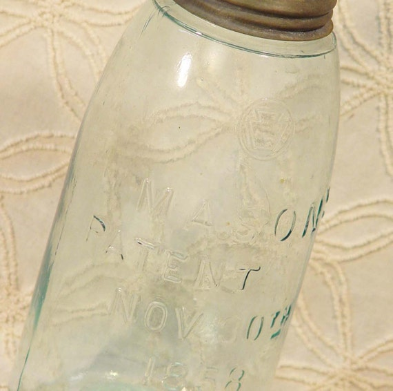 Early Vintage Mason Canning Jar One Quart  Zinc Lid  Storage Country Kitchen 1858 Victorian Era