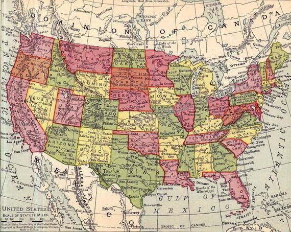 United States Pre WWII Map Ephemera - Us map ww2