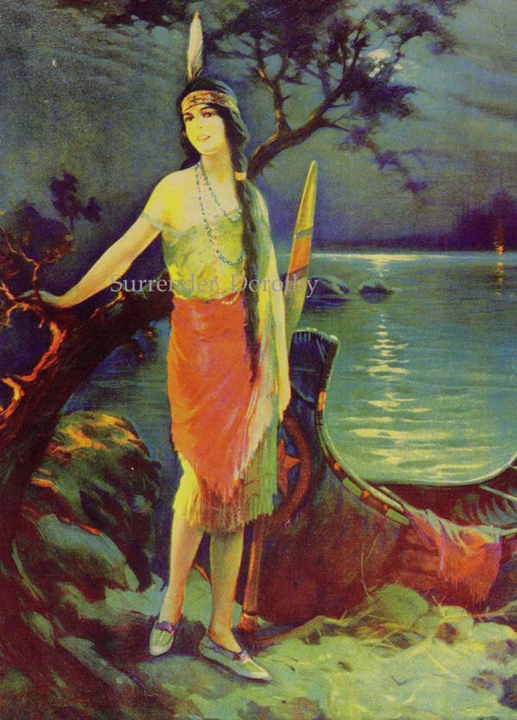 Indian Maiden Moonlight Charles Relyea Vintage By