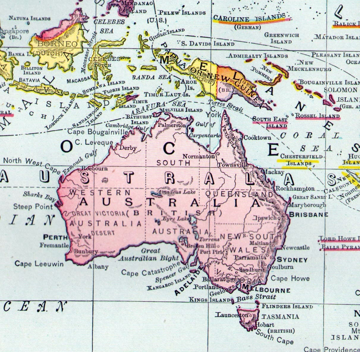 Map Oceania Australia New Zealand Surrounding Islands 1903