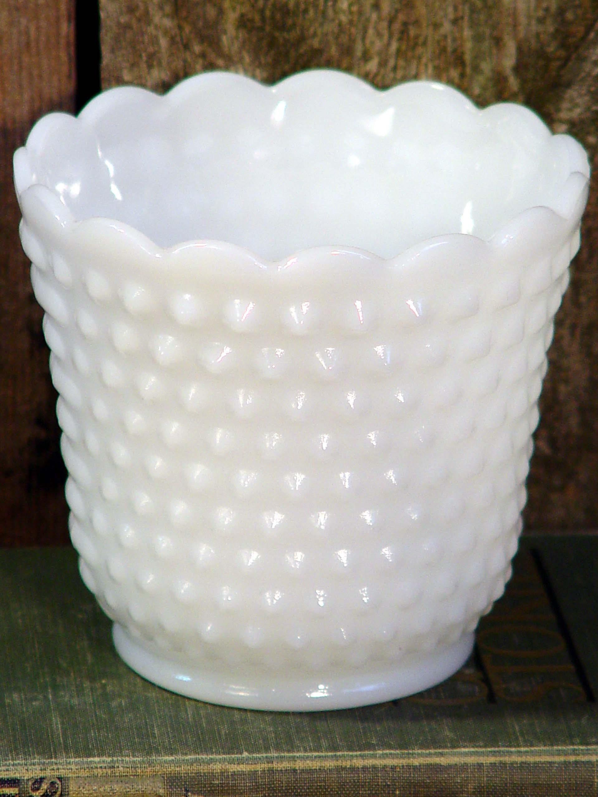 fire king milk hobnail milk glass vase vintage white wedding. Black Bedroom Furniture Sets. Home Design Ideas