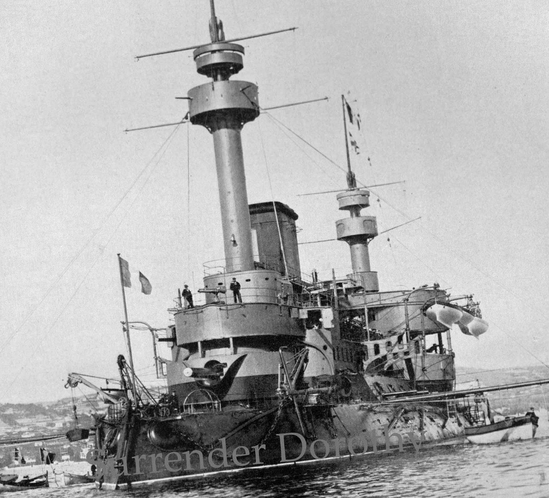 French Ironclad Navy Battleship Hoche 1895 Vintage Ship Rotogravure Monitor  & Nueve De Julio