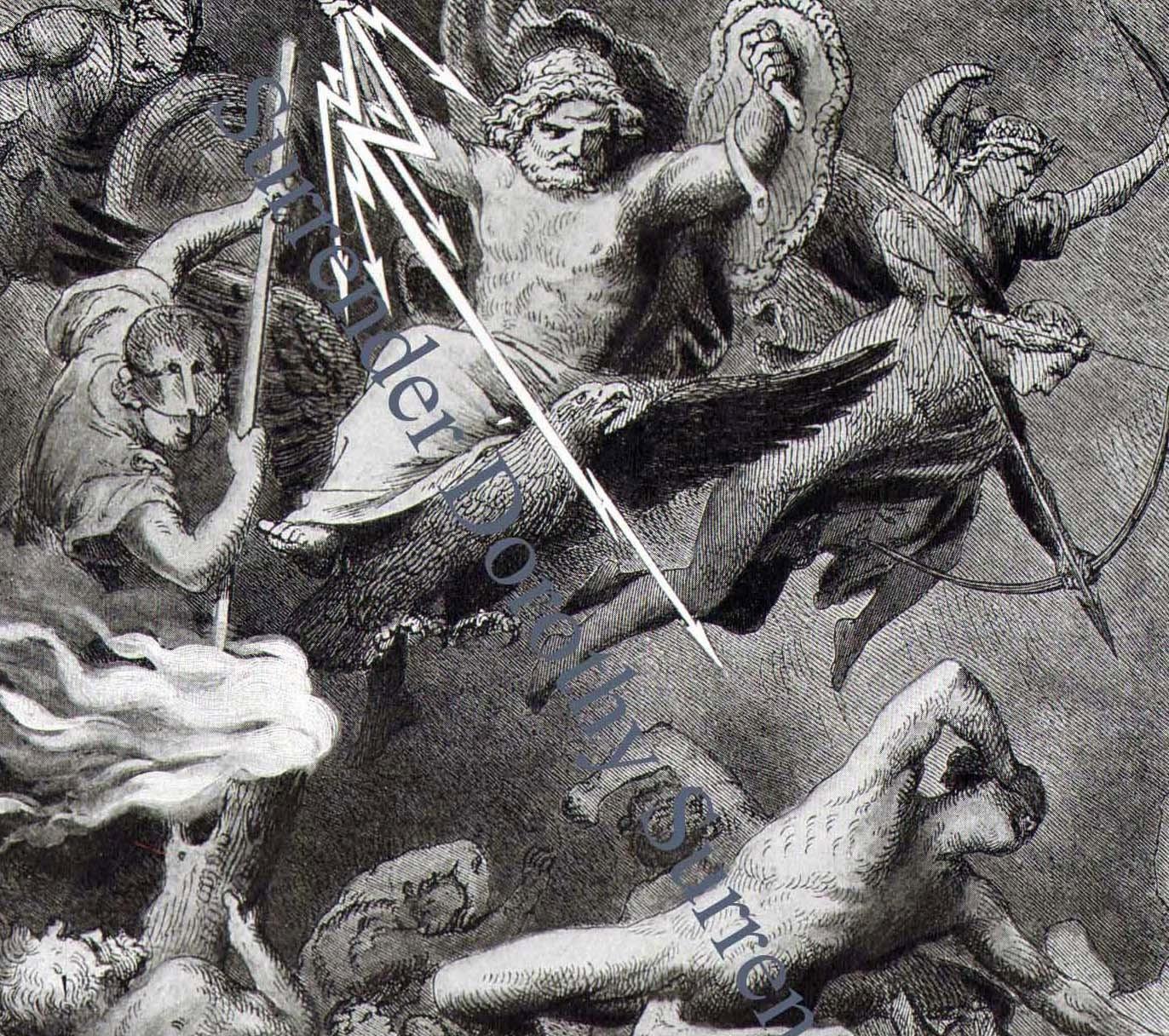 Battle Gods & Giants 1908 Edwardian Engraving Vintage  Battle Gods & G...