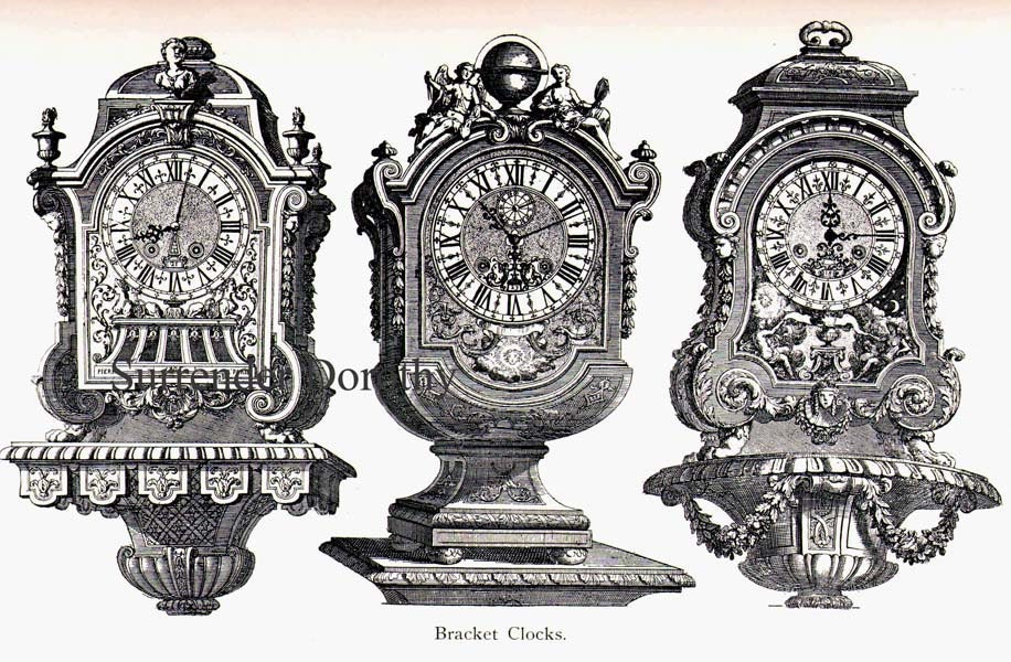 French Bracket Clocks 17th Century Technical Drawing Vintage