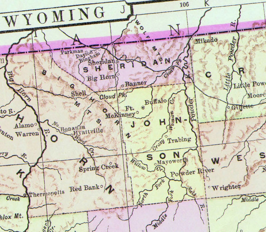 Wyoming Map United States USA 1896 Victorian Antique Copper