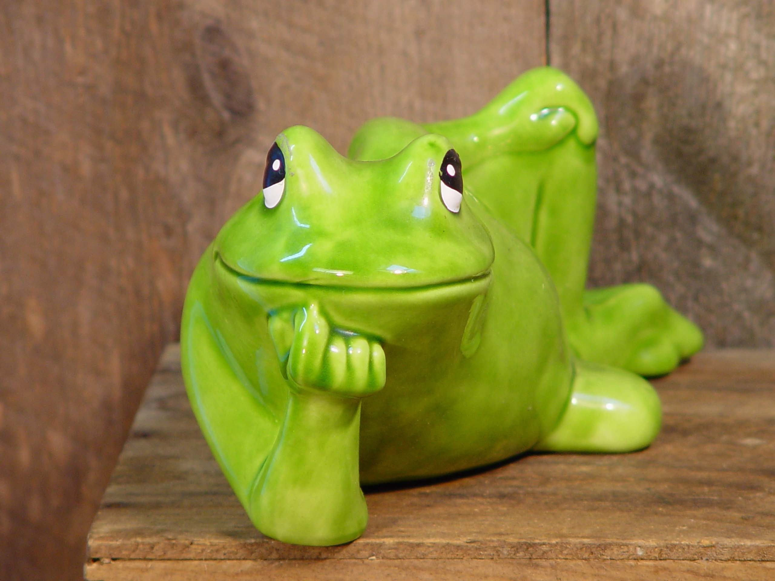 Big ceramic frog kiss me sweetie retro vintage garden decor for Deco jardin ceramique