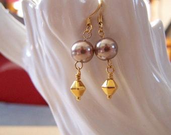 Bronze Gold Dangly Earrings