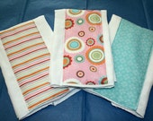 3 Custom Made Burp Cloths-Just Dreamy-Pink