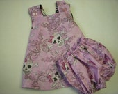 Black and Pink Crossbones and Heart Skulls Reversible Pinafore Dress with bloomers