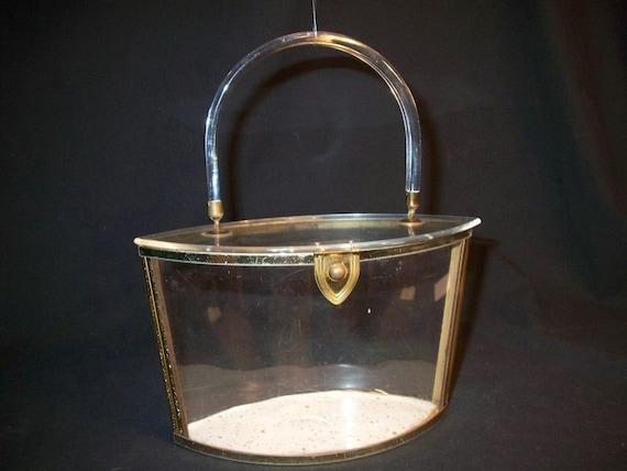 Vintage Majestic Clear Lucite Box Purse Handbag Acrylic