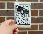 Jellyfish Love Lino Block Print