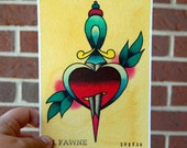 5 x7 Watercolor Painting Tattoo Flash - Heart and Dagger
