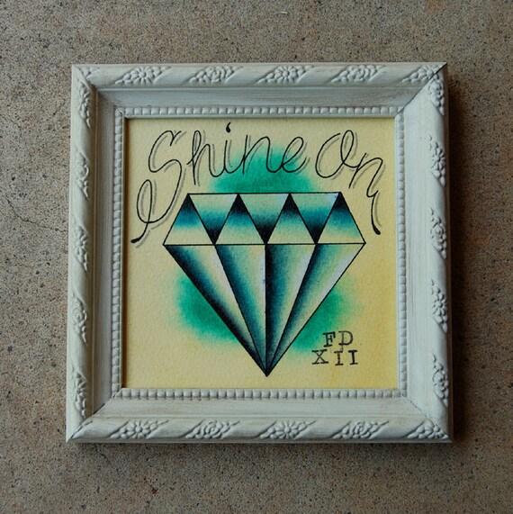 Tattoo Flash Inspired Diamond Watercolor Painting - Shine On