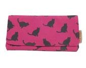 Pink cats zipper wallet