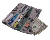 Grey on grey film pleated zipper wallet