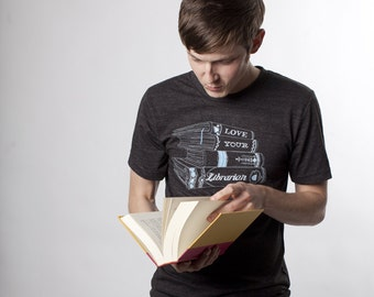 Love Your Librarian Mens Tshirt, Screenprinted Tshirt, Triblend Charcoal Tshirt, Geek Chic