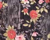 Asian style Floral cotton fabric 1 yard - gold metallic detail