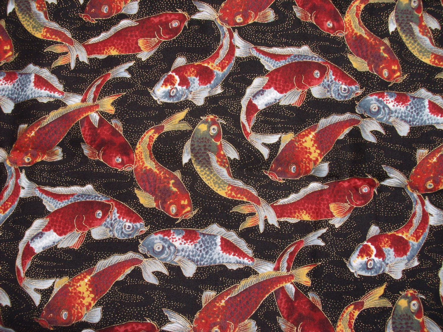 asian style koi fish cotton fabric yards gold metallic