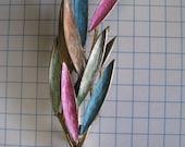 Vintage enamel multi color leaves brooch