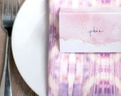 Custom Listing - 30 Hand Written Blush Pink Faded Watercolor Dip Dye Table Place Cards