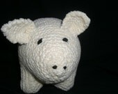 Soft Sculpture Knitted Pig Toy  - Natural White Chenille