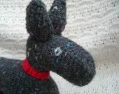 Scottie Dog - Hand knit Knit  - Soft Sculpture Toy - Black Acrylic