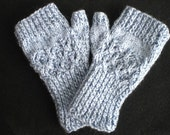 Shades of Blue Feather Lace Fingerless Gloves - Knit