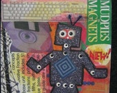 Robot ACEO Collage Picture Mixed Media