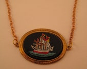 1950s Pirate Ship Necklace