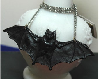 SALE Handmade Large Bat Necklace - Creature Of The Night - Goth Punk Rockabilly Psychobilly Pin Up Car Culture - Plastic Resin Hand Cast