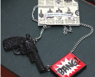 THE ORIGINAL Kiss Kiss Bang Bang Old Skool Gag Gun Necklace -  Hand Cast Resin