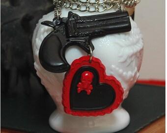 Handmade Love Kills Gun Heart And Poison Skull Necklace - Punk Rockabilly Psychobilly Pin Up Kustom Culture - Derringer Gun Old Wild West