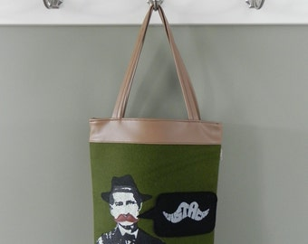 Moustache Tote with silkscreen detail in brown with green felt