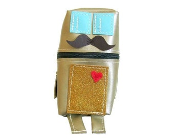 Gold Robot with Moustache