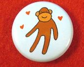 Super Sock Monkey One Inch Button