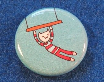Trapeze Cat in Stripes Badge