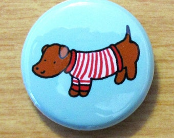 Sweater Doggie Dachshund One Inch Button