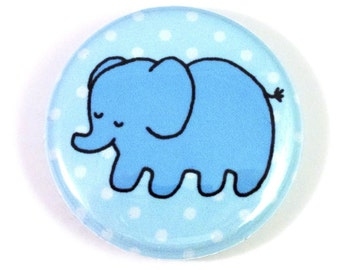 Blue Baby Elephant One Inch Button